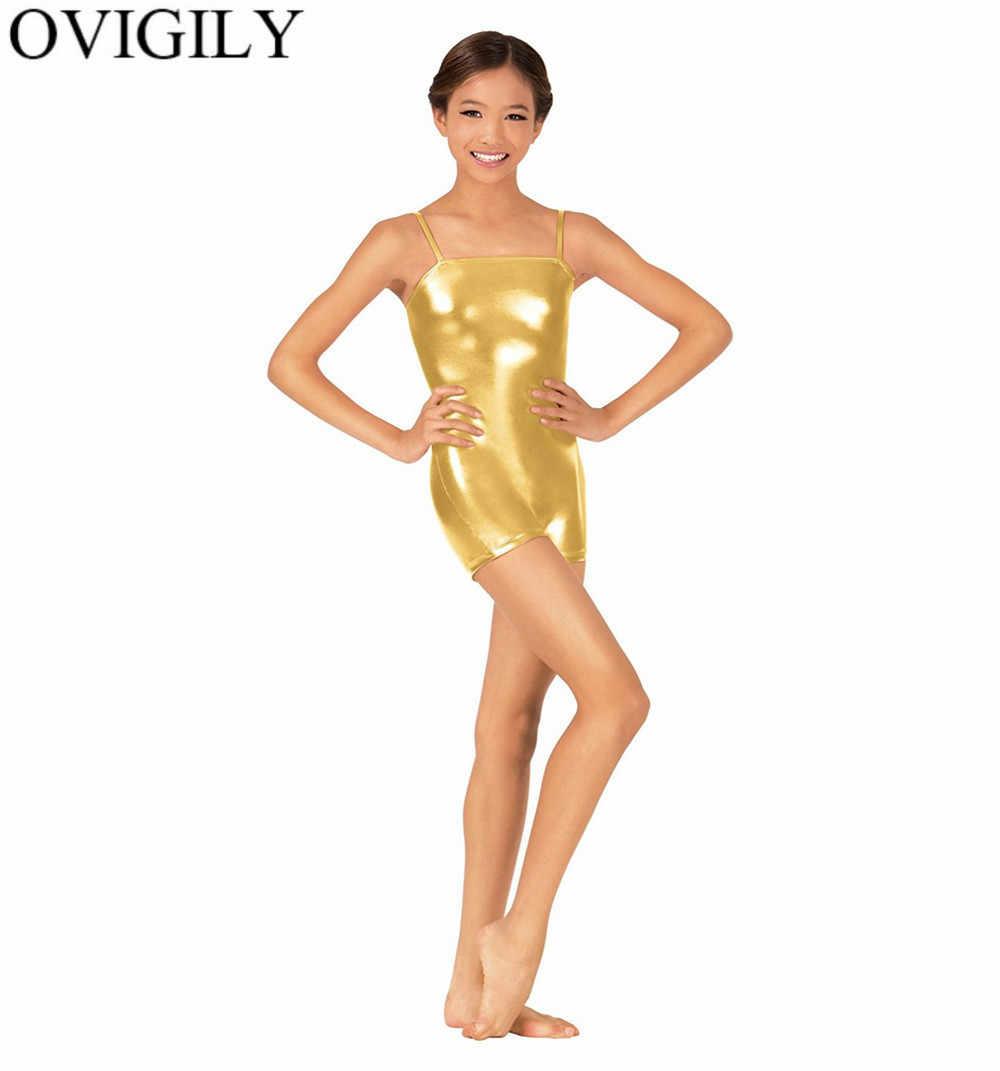 OVIGILY dla dzieci błyszczące metalowe Camisole Biketards bez rękawów Shorty Unitards dla dziewcząt gimnastyka Lycra etap wydajność Dancewear