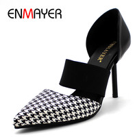 ENMAYERW PU Material Women Pumps Shoes Pointed Toe Thin Heels Elastic Band Large Size 34 43