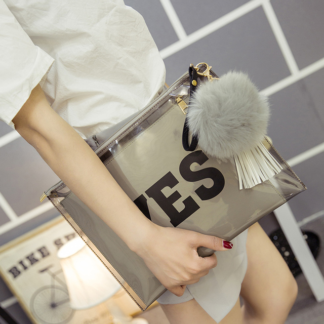 2017 New Street Star Style Women's Double Face Print Fashion Handbag Yes Or No Day Clutch Envelope Transparent Jelly Bag Clear