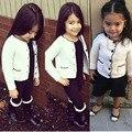Meninas novas Outono O-pescoço Suéter Listrado Cardigans Criança Crianças Suéter de Lã Cardigan Casacos Crianças Brasão Meninas Malhas