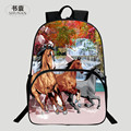 Beautiful 2016 Fashion Polyester 16-Inch Prints Horse Black Teenagers Backpack Kids Baby School Bags Womens Shoulder Bag Girl