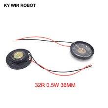 2pcs/lot New Ultra-thin Toy-car horn 32 ohms 0.5 watt 0.5W 32R speaker Diameter 36MM 3.6CM with PH2.0 terminal wire length 10CM