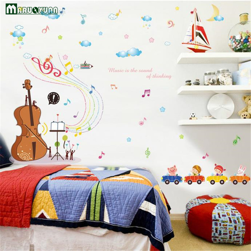 Colorful Fantasy Violin Music Animal Car Combination Sticker Children Bedroom Living Room Background Removable Wall