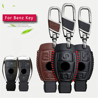 Car Key Bag Case Cover Key Holder Chain For Mercedes Benz Accessories Genuine Leather