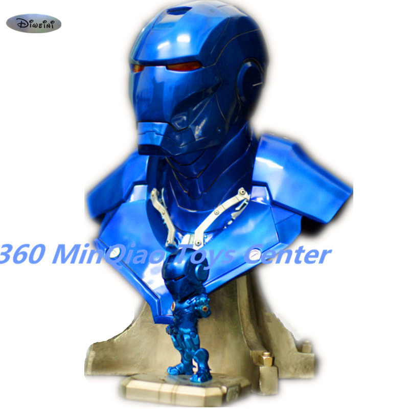 Statue Avengers IRON MAN 1:1 (LIFE SIZE) Bust MK3 Half-Length Photo Or Portrait Resin Head portrait Blue Special Edition Avatar statue avengers captain america 3 civil war iron man tony stark 1 2 bust mk33 half length photo or portrait with led light w216