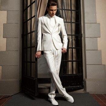 Handsome White handsome wedding suits for men Groom / Groomsmen Tuxedos mens custom made wedding suits (Jacket+Pant+Tie)