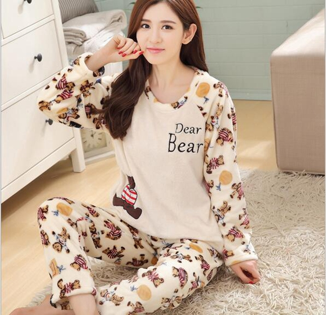 5ce17d673 Newest Styles winter pajama women flannel Animal pajama sets female  sleepwear Small bear/ girl/