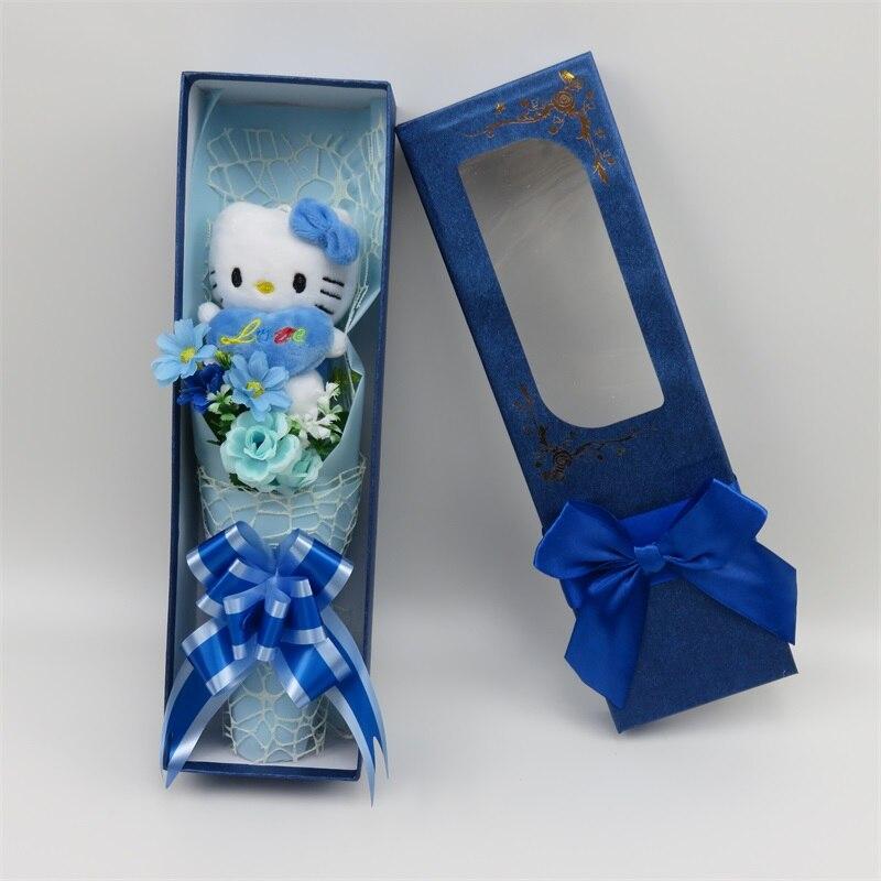 100% hamdmade 3 fleurs de simulation + 7 Hello Kitty peluche animaux en peluche chats jouet dessin animé fleurs bouquet saint valentin cadeau - 5