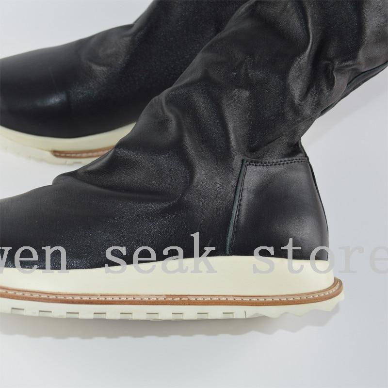 Luxo Botas Do Couro Seak Joelho Preto Cano Dos Pele De Homens Formadores Alto Casual 18ss Owen Sneaker Na Sapatas Altura Inverno Carneiro Shoes Flats Grande 6q5zz0