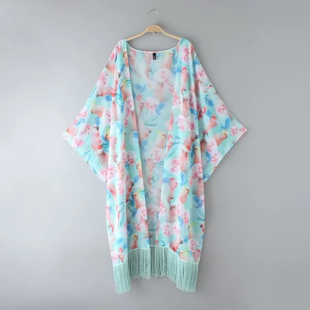 Online Shop vintage ladies Summer fashion cute tassel parrot print ...