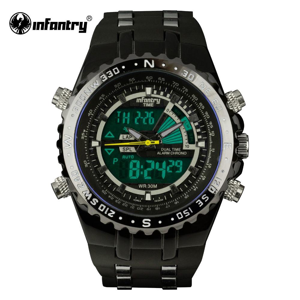 Prix pour INFANTRY Mens Montres LCD Reloj Numérique New Casual Quartz Montre Militaire Police Chronographe Montre Date 2016 Marque De Luxe