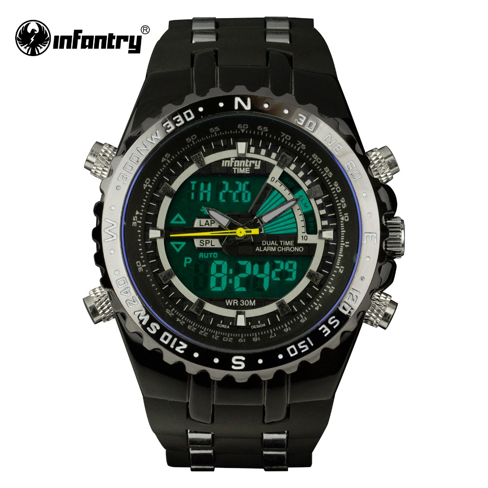 INFANTRY Mens Watches LCD Reloj Digital New Casual Quartz Watch Military Police Chronograph Watch Date 2016