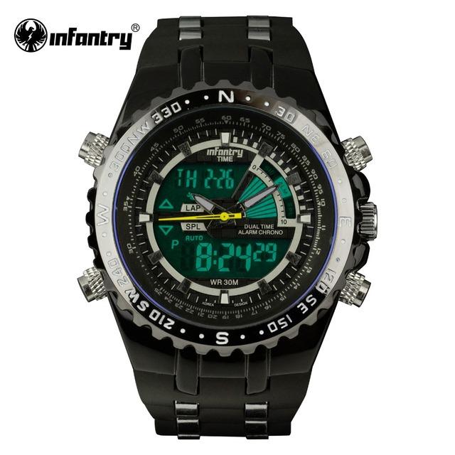 Infantry mens relógios lcd digital reloj new casual quartz watch militar police chronograph data relógio 2016 marca de luxo