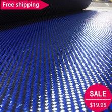 Free shipping  3K Carbon fiber& Blue Kevlar mixed Fabric 28 / 70cm wide 2x2 Twill Aramid fiber cloth 200gsm 1100D