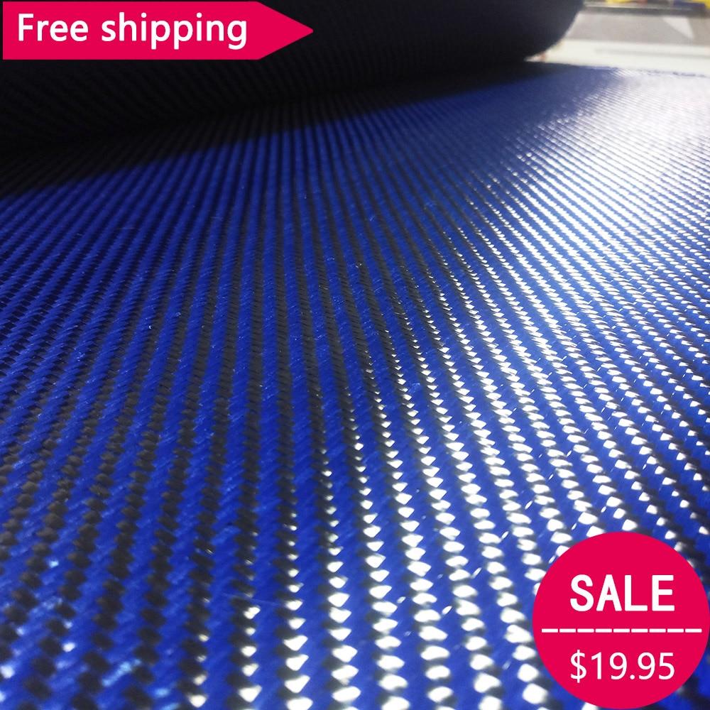 Free shipping 3K Carbon fiber& Blue Kevlar mixed Fabric 28 / 70cm wide 2x2 Twill Carbon Kevlar Aramid fiber cloth 200gsm 1100D