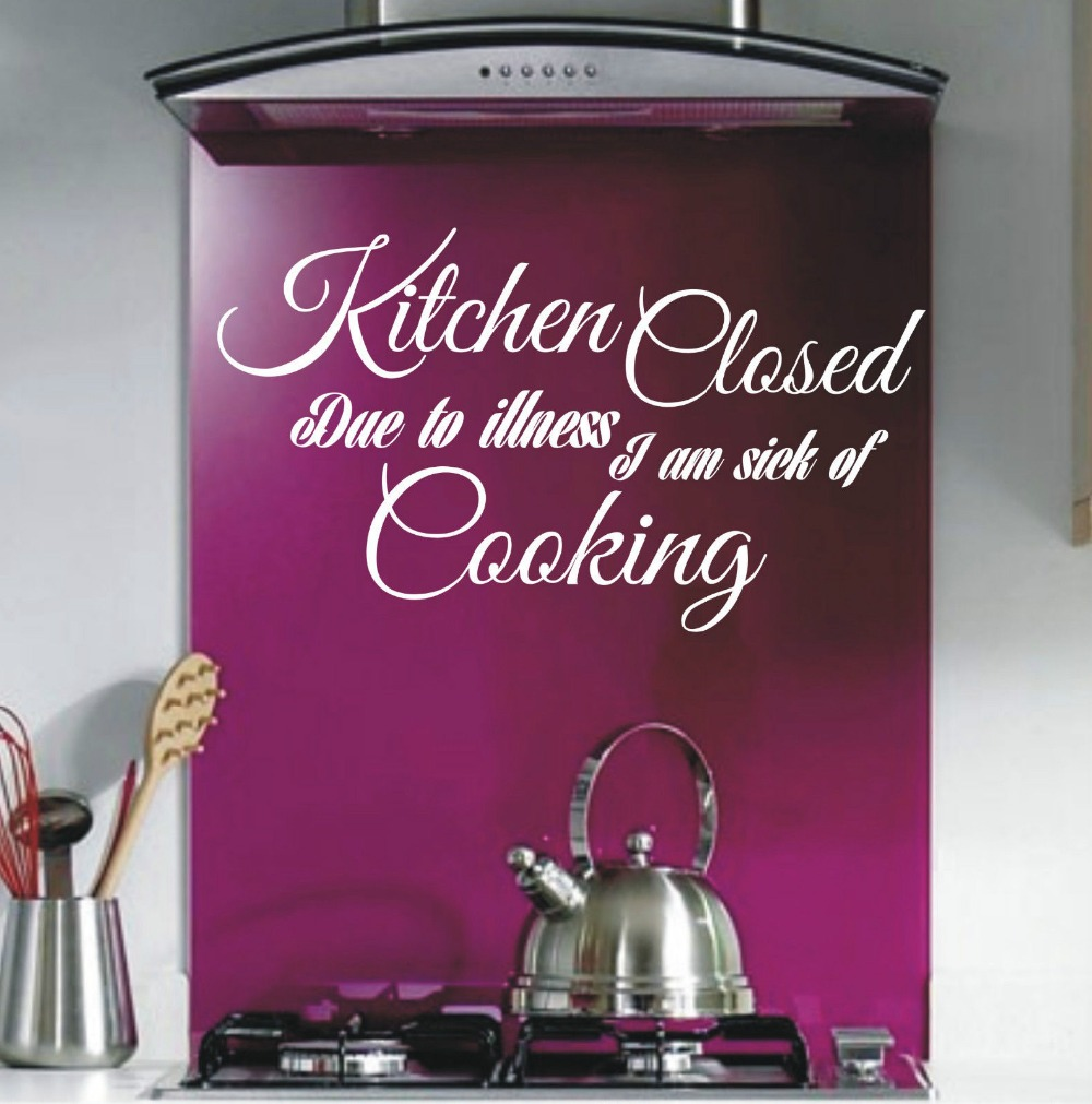 Kitchen Closed Funny Kitchen Wall Art Sticker Quote Wall
