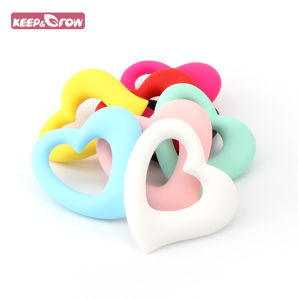 Keep&Grow 1pcs Heart Shaped Silicone Baby Teethers BPA Free Baby Teething Beads BPA Free Baby Nursing Necklace Pendant 8 Clolors