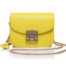 Mode luxus berühmte marke beiläufiger echtes leder tasche damen original leder gelb sommer Kette messenger frauen sling taschen