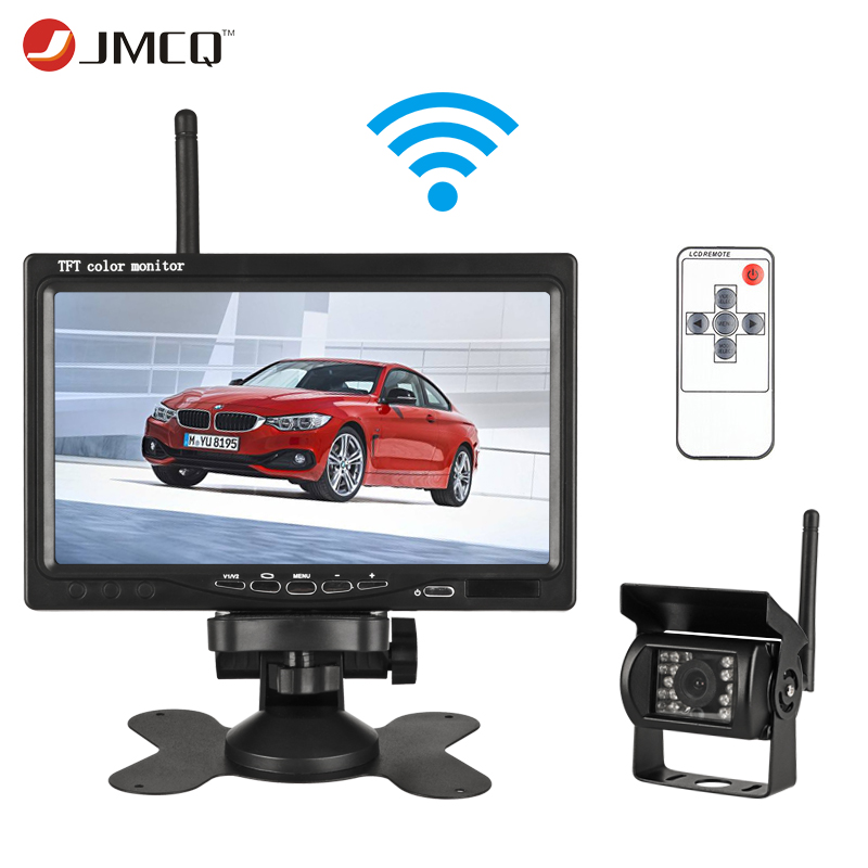 JMCQ 7 TFT LCD Wireless Wired Car Monitor HD Display Reverse Camera Parking System For Car Rearview Monitors For Truck work car