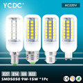 YCDC LED lamp E14 E27 B22 G9 AC220V SMD 5050 Corn Bulb AC220V 9W/11W/12W/13W/15W Chandelier LEDs Candle light Spotlight For Home