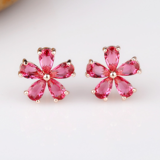 Rose Gold Color PinkBlue Five Petals Flowers Zircon CZ Piercing