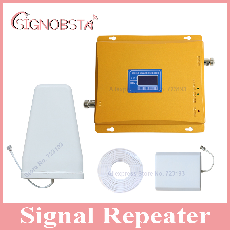 High gain lcd display dual band gsm 3g cellphone booster with panel antenna gsm900 wcdma 2100mhz repeater for home amplifier