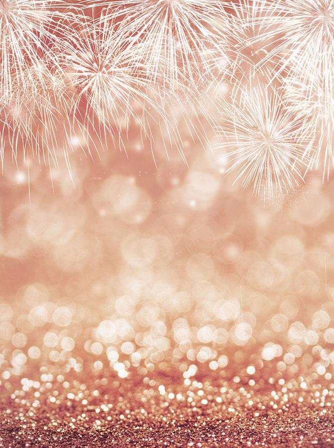 Bokeh Fireworks Rose Gold background Vinyl cloth High ...