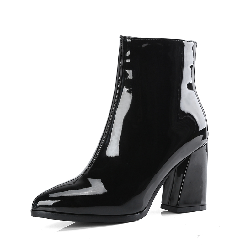 Boots Women Silver Black Ankle Boots for Women High Heel Boots Ladies Winter Shoes Woman Gold Purple Botas Invierno Mujer
