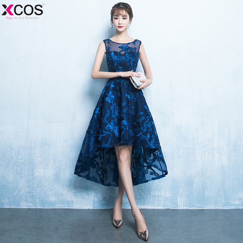 Blue High Low Short   Cocktail     Dresses   Women Appliques Lace Party   Dress   Knee Length A Line vestidos coctel mujer 2018