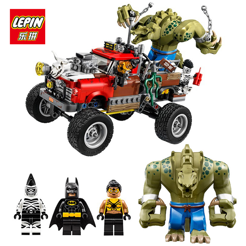 цены LEPIN Killer Croc Batman Movie Seriessuper heroes Tail-Gator Model Building Kit figure Blocks Gift Toys for Boys Compatible lego