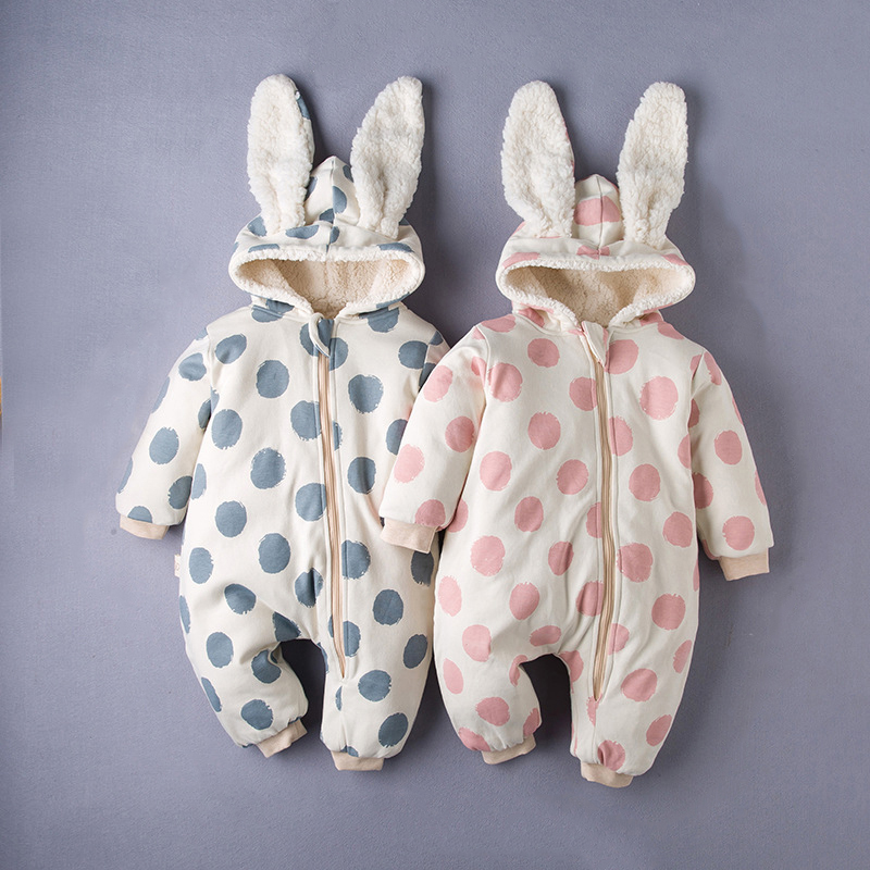 fashion Brand Winter Thicken   Romper   Rabbit Ear Baby Jumpsuit Cute Fashion Polka Dot kids Newborn children Outfits Overalls