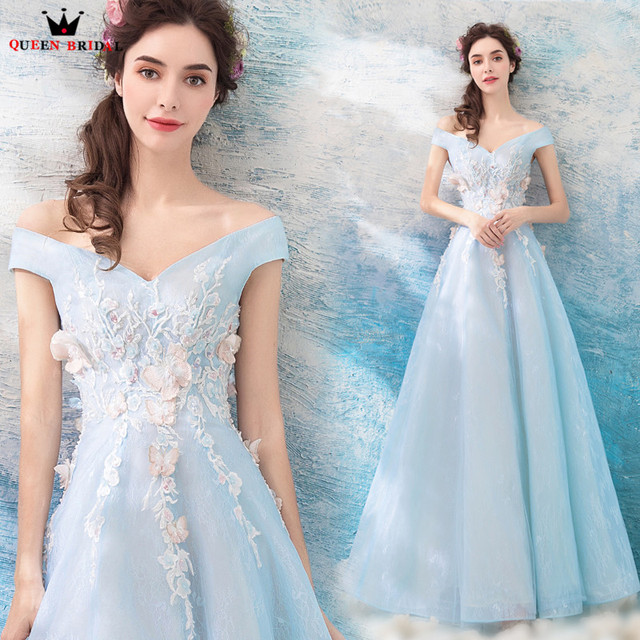 f6352119b3b2 QUEEN BRIDAL Evening Dresses A-line Cap Sleeve Light Blue Beading Flowers  Appliques Elegant Evening Gowns Vestido De Festa ZX04