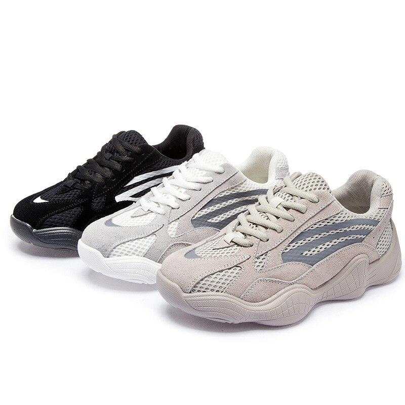 Zhenwei Women Shoes Sneakers Ulzzang  Black Breathable Easy Walking Chunnky Daddy Multi Color