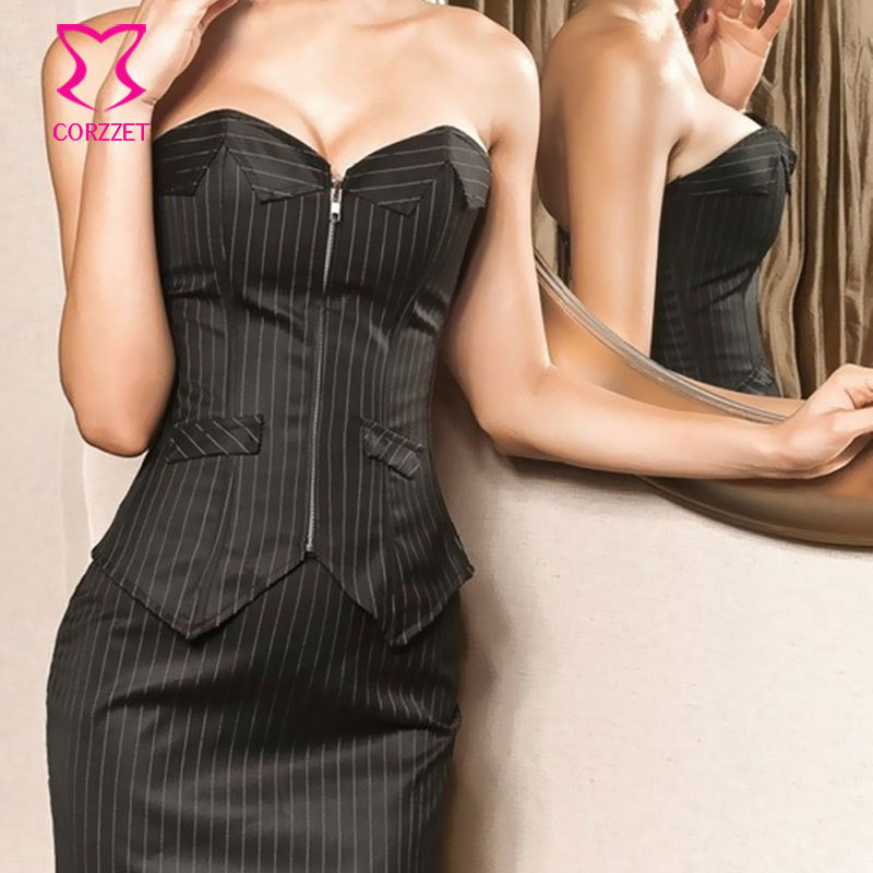 f77580b115 Black Pinstripe Strapless Gotico Burlesque Women Zipper Corset Skirt Office Suit  Sexy Gothic Corset Dress Corpetes