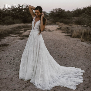 Image 2 - Plunging Neck Wedding Dresses Pearl Crystal Beaded Lace Bridal Gown Factory Custom Made Real Photo