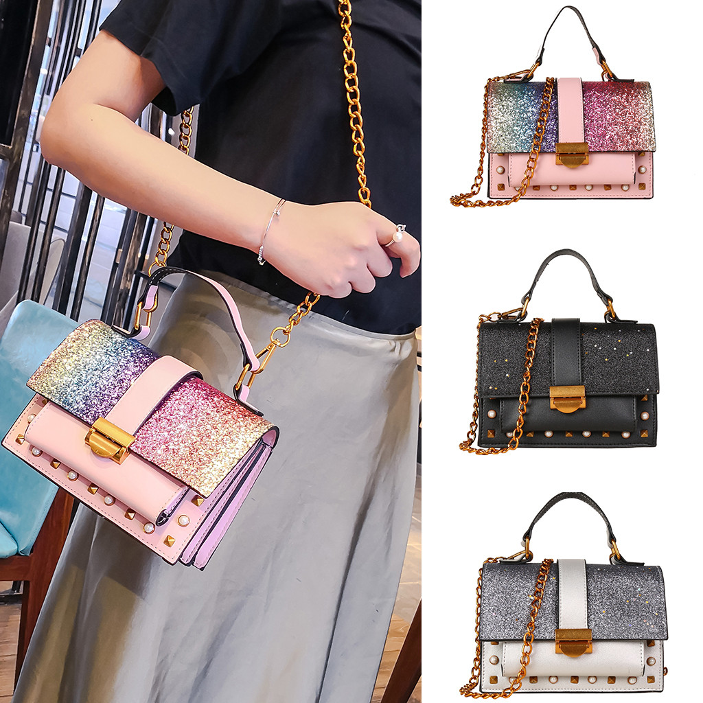 Colorful Bling Sequins Square Bags Women Wild Messenger Fashion One-Shoulder Small Square Bag Handle Rivets Decor Chain Sling