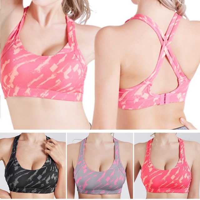 243006f742897 Cross Strap Back Women Sports Bra Professional Quick Dry Padded Shockproof  Gym Fitness Running Yoga Sport