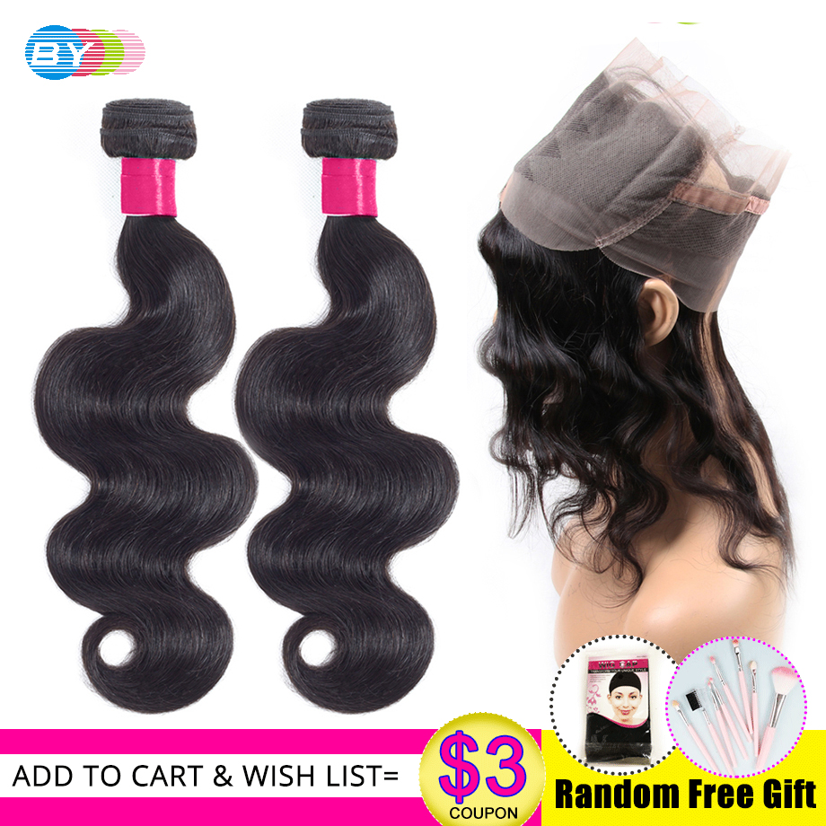 BY Remy Hair Brazilian Body Wave Bundles With 360 Lace Frontal Closure 3Pcs Natural Color 360