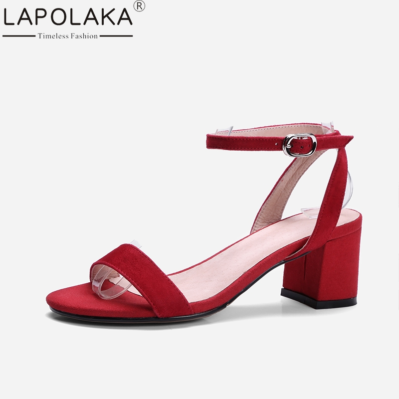 LAPOLAKA New Brand 2018 Kid Suede Leather Solid Woman Shoes High Heel Women Shoes Buckle Party Red Summer Sandals lapolaka 2018 brand new horsehair woman elegant wedges high heel women shoes platform black summer sandals women