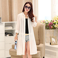 Women Summer coat Print 3/4 Sleeve Casual Loose Long Chiffon Kimono Cardigan Blouse Top Sunscreen clothing