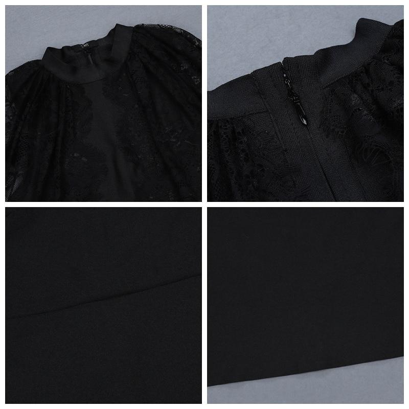 Chauve 2019 Plein Black Femmes Soirée De Moulante souris Noir D'hiver Sexy Bandage Hashupha Manches Club Dentelle Discothèque Robes 01qw0B