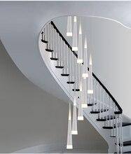 1.5-3.5 M Milan Led Stożek światła Nowoczesne Spirala Żyrandol lampy led dla sraiwell jadalnia lekki spadek długi spirala Schodów oświetlenie