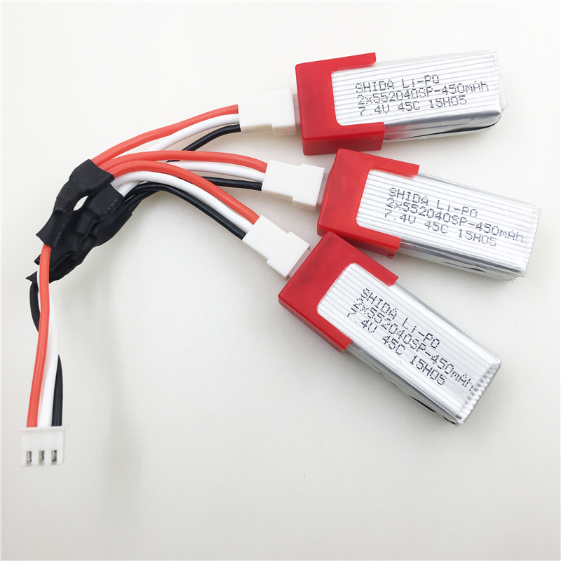 ENGPOW 3PCS Battery For XK K120 RC Helicopter Spare Parts 3pcs 7.4V 450mAh Battery + 3 in 1 Cable