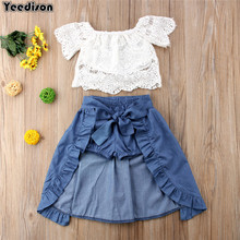 Fashion Baby Girl Summer Clothes 2018 Toddler Girls Suits Lace Tops Denim Skirts Shorts Kids Outfits 3Pcs Children Clothing Set(China)