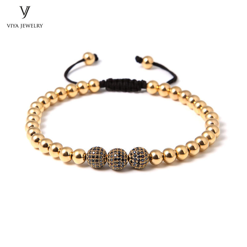 2017 New Gold Color beads Bracelets For Men/Women High Grad Stainless Steel Beads Accessories Braiding Bracelet For Watch 2016 new waterproof black beads macrame bracelets for men women high end cz beads braided bracelet for watch boho men jewelry