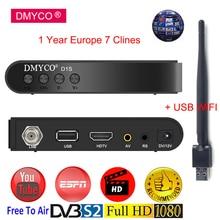 DMYCO DVB-S2 Satellite Receiver +1 Year Europe Spain 7 clines Full HD 1080P Spain LNB TV Tuner Receptor Support Powervu Biss key
