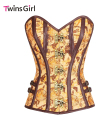 New Fashion 2017 Women Sexy lingerie Hot steampunk corset Plus Size Tan Satin Globe Print Overbust Corset with Thong LC50031