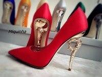 Thiết Kế mới Glamorous Red Lụa Cao Gót Phụ Nữ Classy Chóp Heel Strange Slip-on Bơm Thời Trang Nông Ăn Mặc Giày Hot Bán