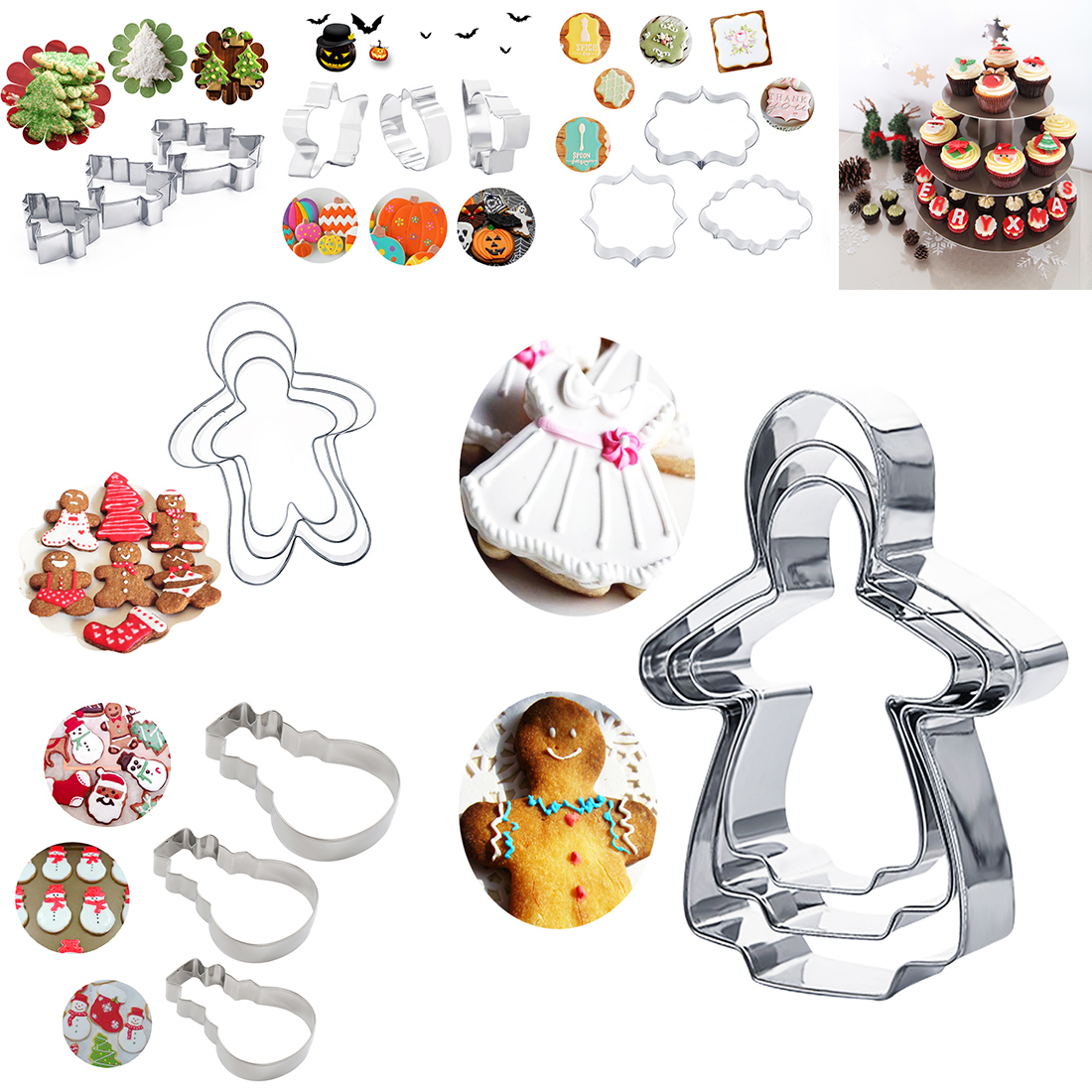 Lovely 3pcs/set 3d Fondant Cookie Cutters Stainless Steel Gingerbread Snowman Easter Series Shape Mold Cake Stencils Bakeware Kitchen,dining & Bar