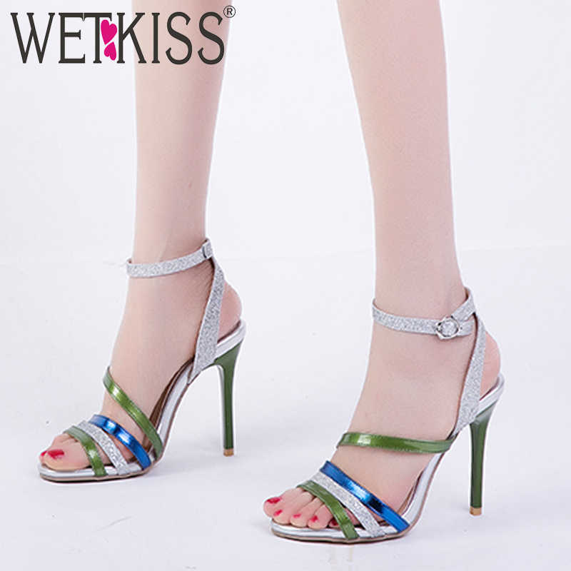 WETKISS Gladyatör Sandalet Kadın Yaz Sandalet Kadın Yüksek Topuklu Bling Ayakkabı Kadın Moda Renkli Ayakkabı Bayanlar Artı Boyutu 46